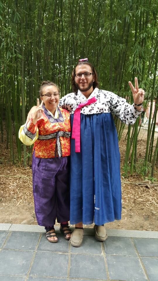 gender swapped traditional hanbok with her boyfriend on vacation